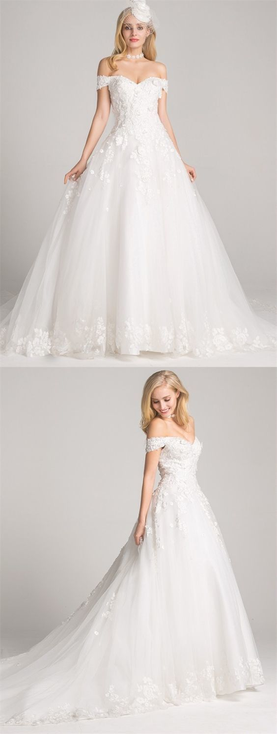 Ball Gown Off-the-Shoulder Chapel Train Lace-Up Wedding Dress with Appliques