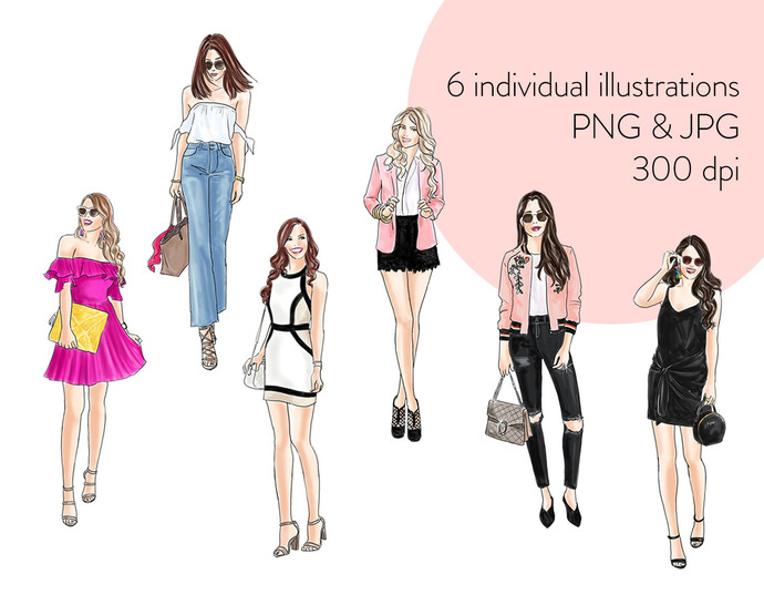 Watercolour fashion illustration clipart - Fashion Girls 19 - Light Skin