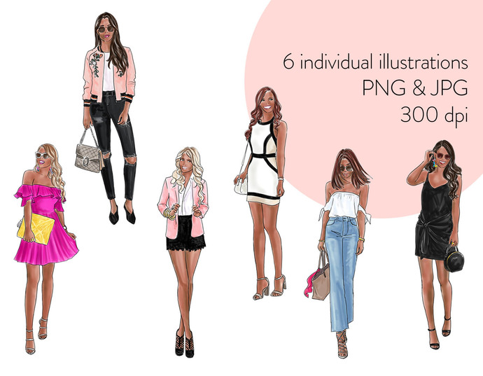 Watercolour fashion illustration clipart - Fashion Girls 19 - Dark skin