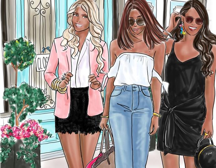Watercolour fashion illustration clipart - Fashion Girls 19 - Dark skin