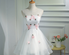 ac339bc08a4ce BeMyBridesmaid · White Floral Pretty Tulle Graduation Dress, White Prom  Dress for Junior, Lovely Dresses