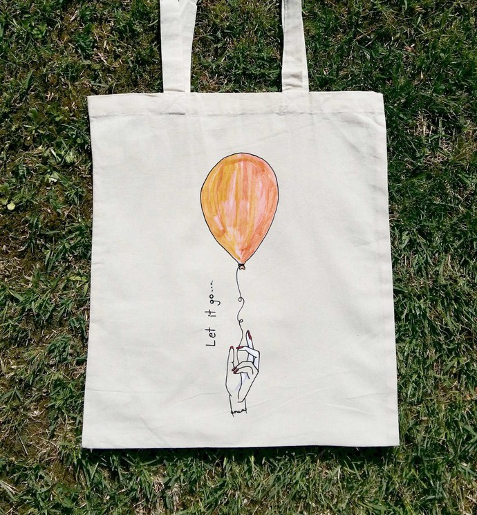 d92f3ebab Let It Go, Canvas Tote, Woman Tote Bag by Balumba Art on Zibbet