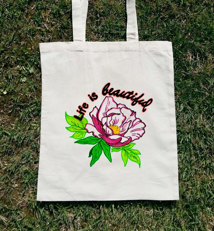 Well-liked Life Is Beautiful, Canvas Tote, Woman Tote Bag by Balumba Art on LO17