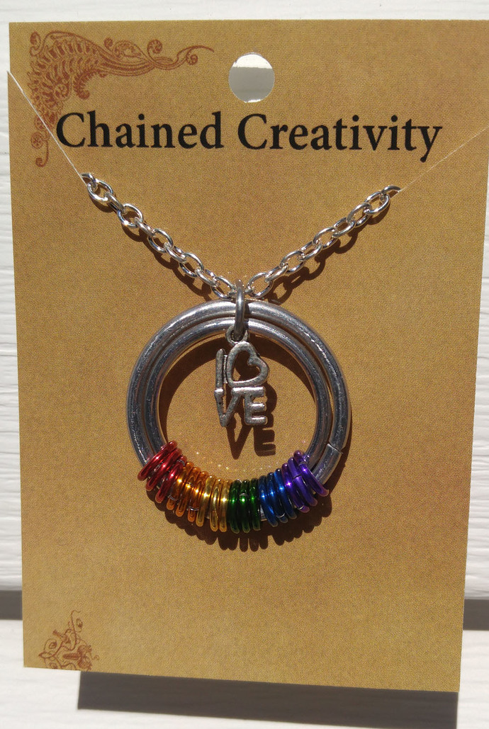 Bisexual Pride pendant, chainmaille necklace