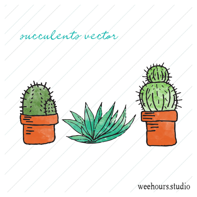 FREE Cacti vector for digital scrapbooking, stamps, stationery, handmade cards,