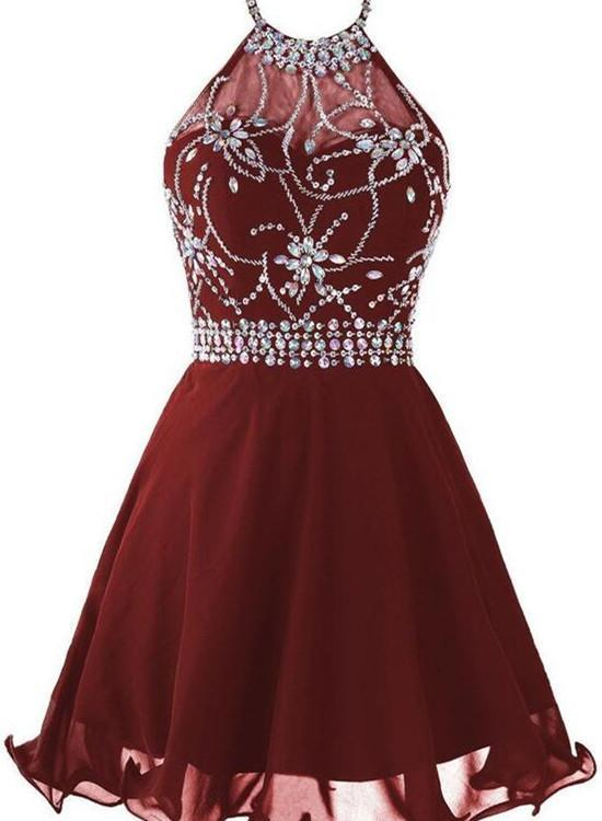 5abea0b6817 Dark Red Halter Homecoming Dress 2018