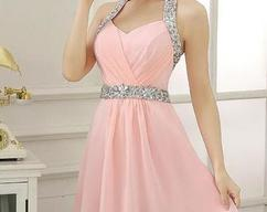 080e7e74478f2 BeMyBridesmaid · Pink Sequins Simple Cute Short Party Dress, Pink Cute  Formal Dress,Mini Dresses
