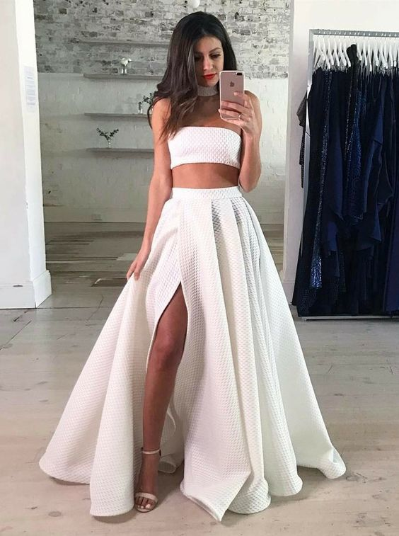 Two Piece Strapless Floor-Length White Lace Prom Dress with Split Dresses
