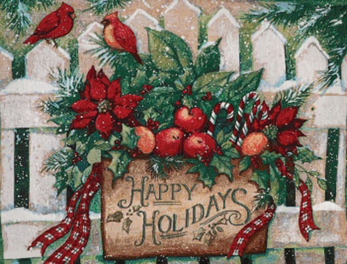 HAPPY HOLIDAYS Cross Stitch Pattern***LOOK***X***INSTANT DOWNLOAD***