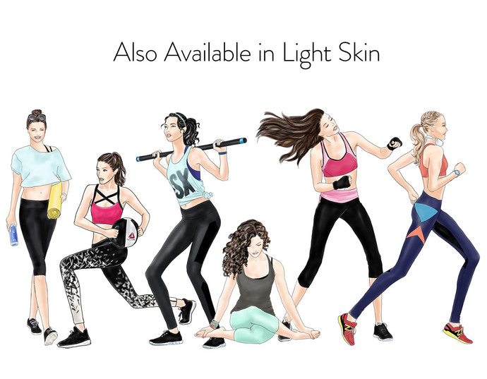 Watercolour fashion illustration clipart - Active Girls - Dark Skin