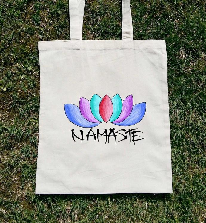 Namaste Lotus Flower Yoga Bag Canvas Tote By Balumba Art On Zibbet