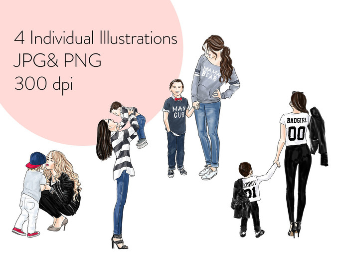 Watercolour fashion illustration clipart -  Mother & Son - Light Skin