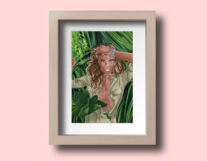 Watercolor fashion illustration - Jungle Fever - Dark Skin