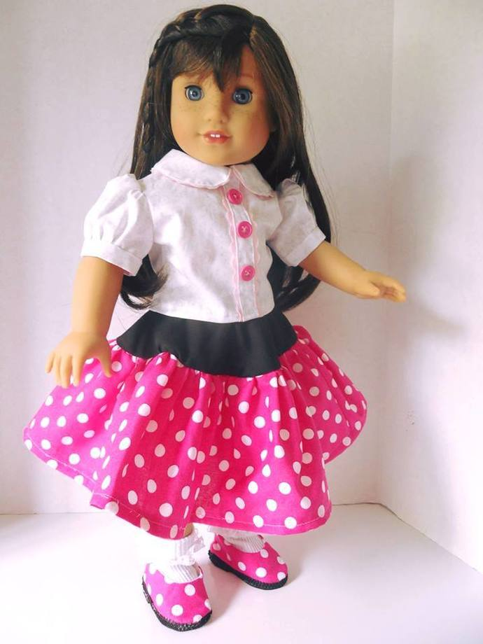 Pink Polka Dot Outfit 18 Inch Doll Clothing