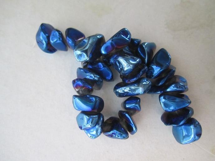 Blue Luster Quartz Nugget Beads