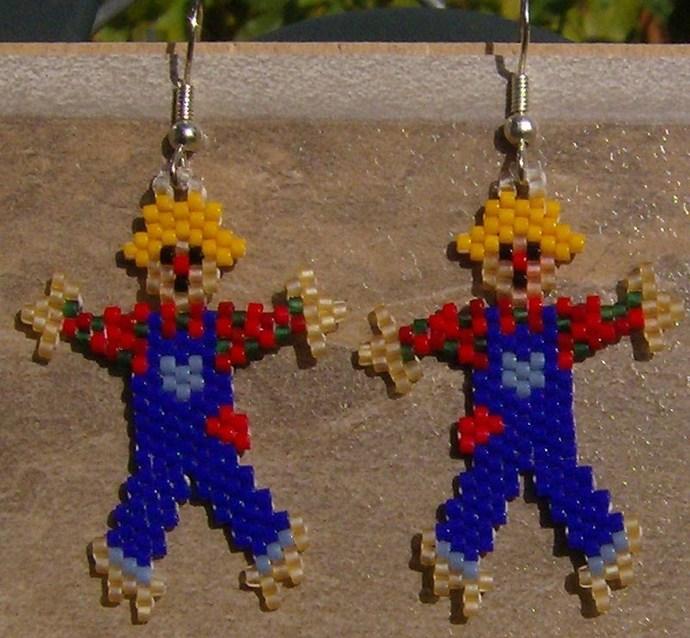 Scarecrow Earrings Hand Made Seed Beaded Bead Work