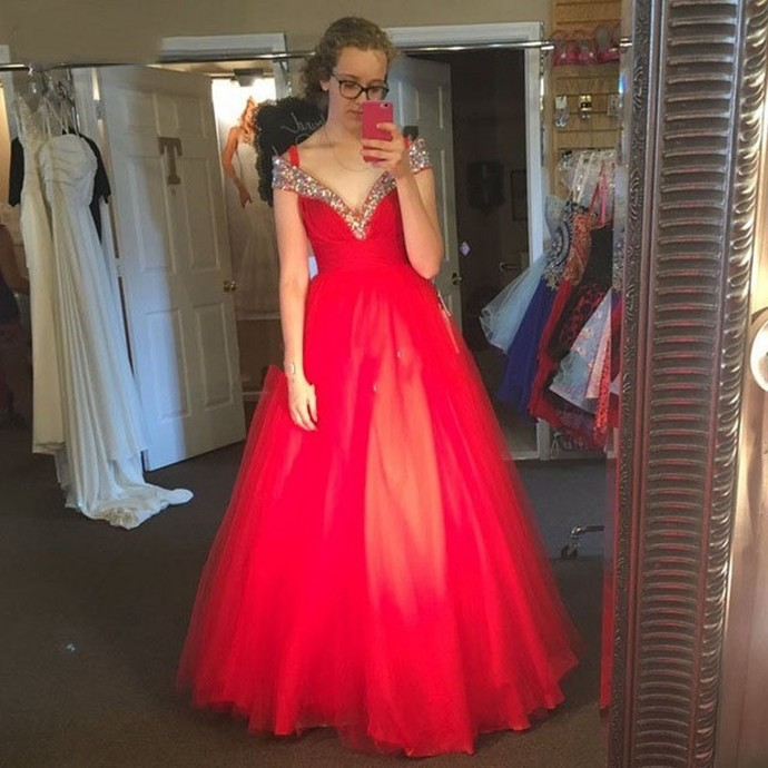 Prom Dresses,Evening Dress,Party Dresses,Off The Shoulder Red Prom Dresses,