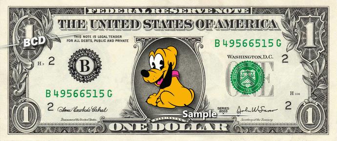 Baby PLUTO on a REAL Dollar Bill Disney Cash Money Collectible Memorabilia