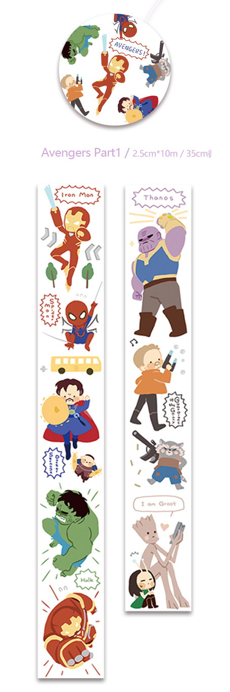 1 Roll of Limited Edition Washi  Tape- The Avengers Part I