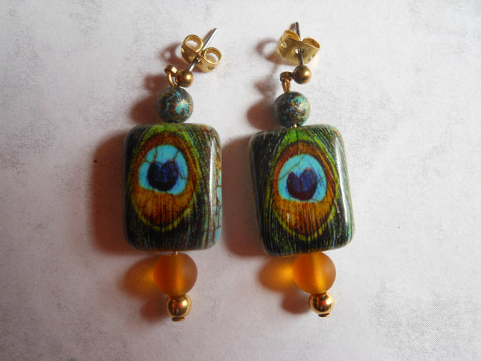 Peacock feather turquoise beaded earrings - brass, sea glass, blue, green,