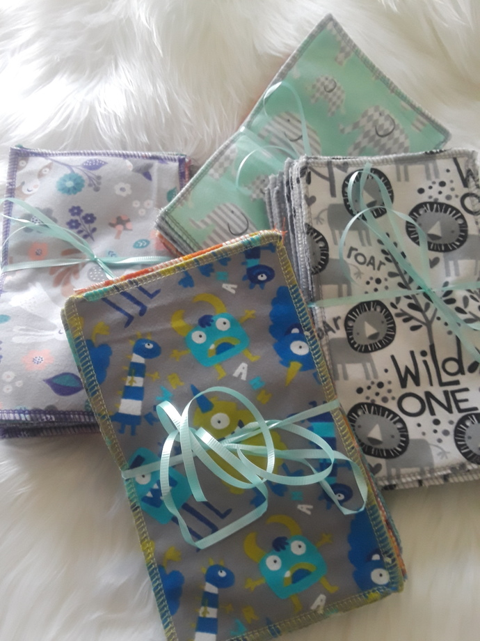 Boy, Girl, Neutral or Gray Patterned Baby cloth diaper wipes or Family cloth
