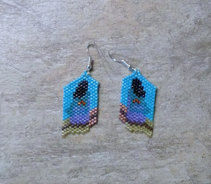 Walking To The Pueblo Earrings Hand Made Seed Beaded Bead Work