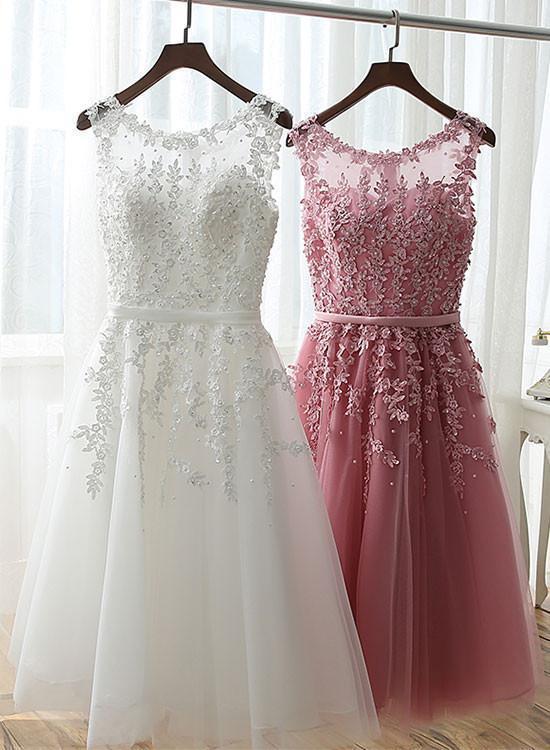 Tulle Applique Short Prom Dresses, White Graduation Dresses, Party Dresses 2018,