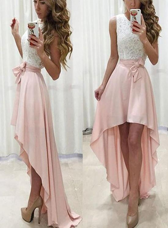 Lace and Chiffon High Low Party Dress, Homecoming Dresses with Belt