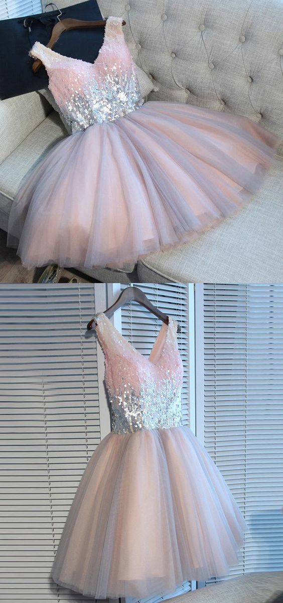 Pink Tulle  V-Neck Short Sequins Homecoming Dress, Lovely Party Dress