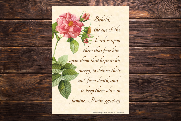 GOD WATCHES OVER YOU Psalm 33:18-19 KJV Vintage Verses DIY Inspirational Wall
