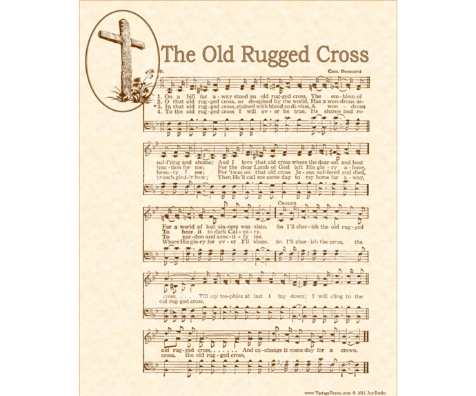 OLD RUGGED CROSS Vintage Verses DIY Print It Yourself Sheet Music Antique Hymn