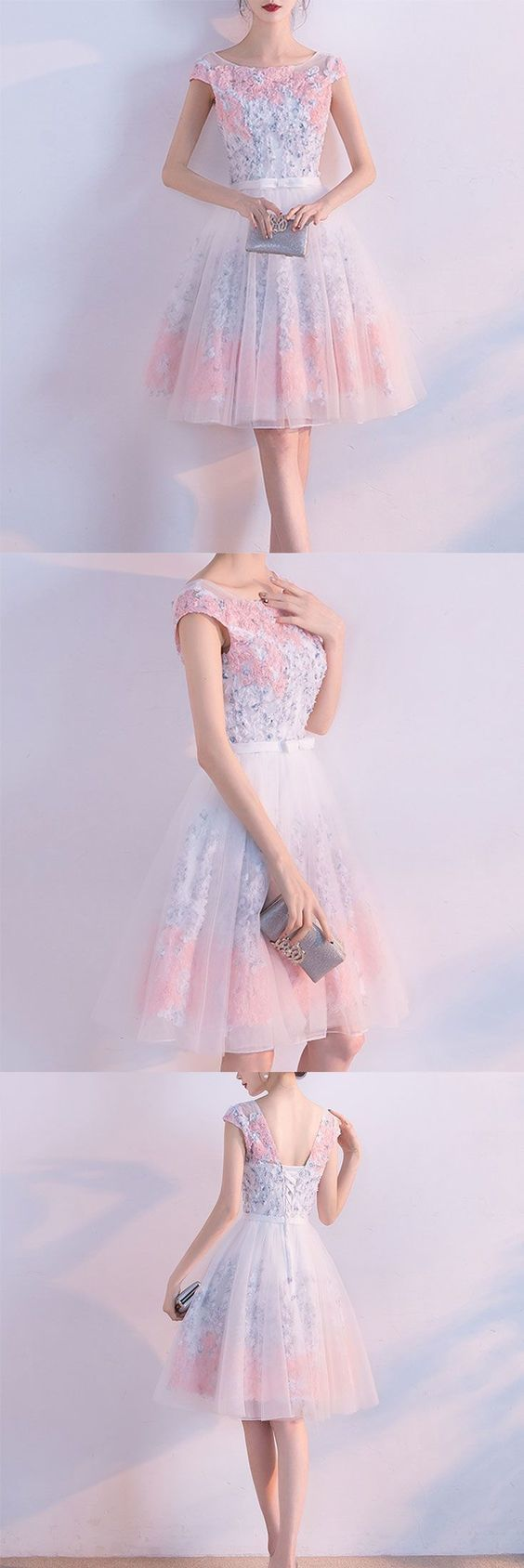 Little Cute | Cute A line short prom dress, homecoming dresses