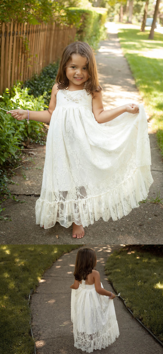 Lace flower children flower girl dresses by meetbeauty on zibbet lace flower children flower girl dresses wedding baptism dress ivory white mightylinksfo