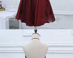 d06ea19d0113b Satin Halter Short Burgundy Homecoming Dress with Beadings, Knee Length  Formal Dress · $149.00 · BeMyBridesmaid