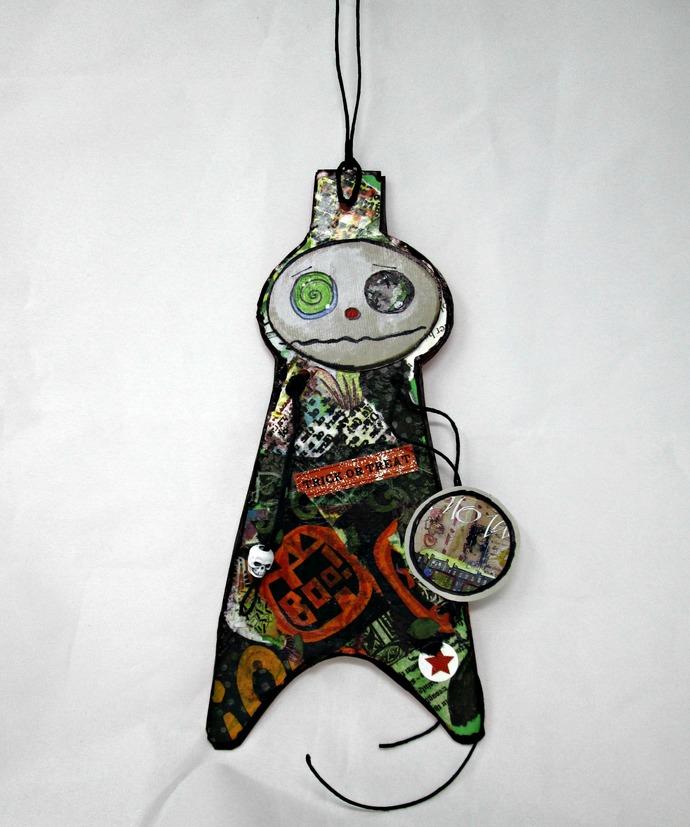 Halloween Ornament / Mixed Media Original OOAK Wall Art/ Halloween Gift