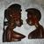 VINTAG Two Mask Wood Afrikan République de Guinée 1970