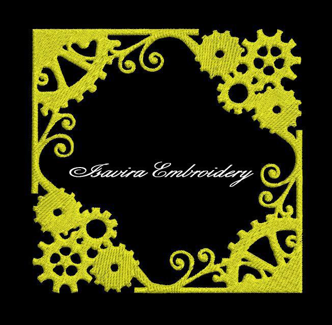 Machine embroidery design 'Border Clock', Vintage, clothes, scrapbook, interior