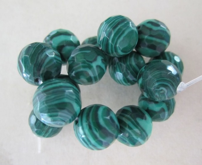 Wagnerite Malachite Multi Faceted Beads