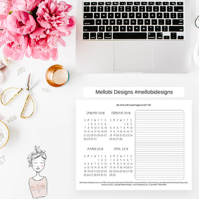 B6  | 2018 Calendar with Lined Paper