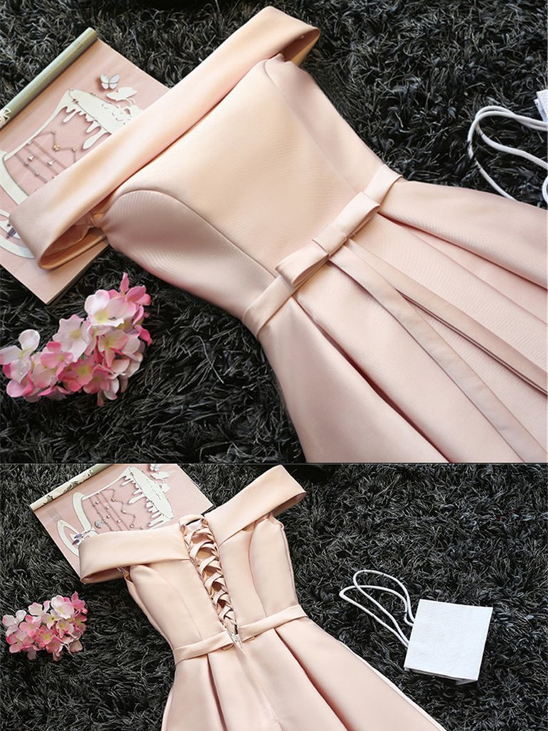 6a0657dd5b0 Cute Pink Off Shoulder Graduation Dress