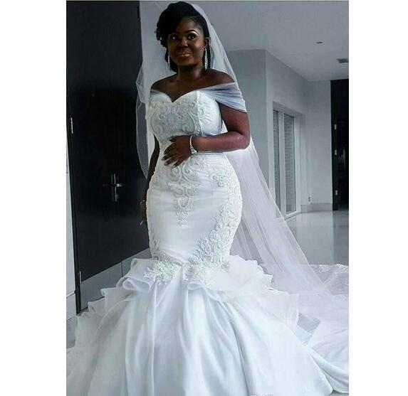53703af6e4abb African Plus Size Wedding Dresses Off The Shoulder 3D Appliques Ruffles  Mermaid