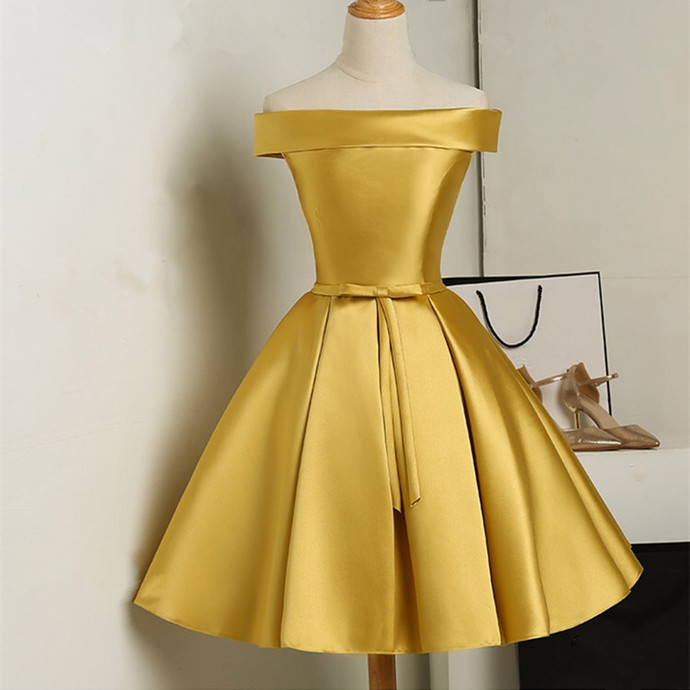 3fb0f427d03 Gold Satin Strapless Homecoming Dress