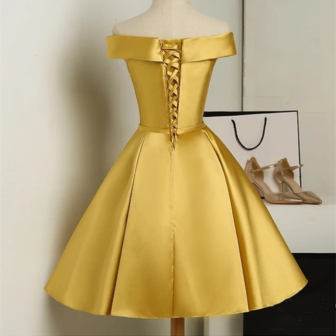 Gold Satin Strapless Homecoming Dress, Off Shoulder Short Party Dress 2018