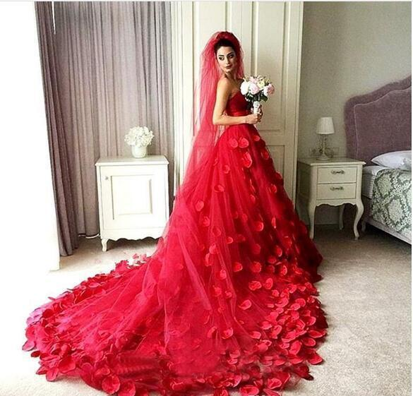79f90171199 3D-Floral Applique Red A-Line Tulle Wedding Dresses Sweetheart Corset  Backless