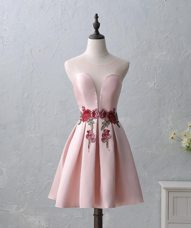 Pink  Satin and Flower Embroidery Homecoming Dress 2018, Round Neckline Party