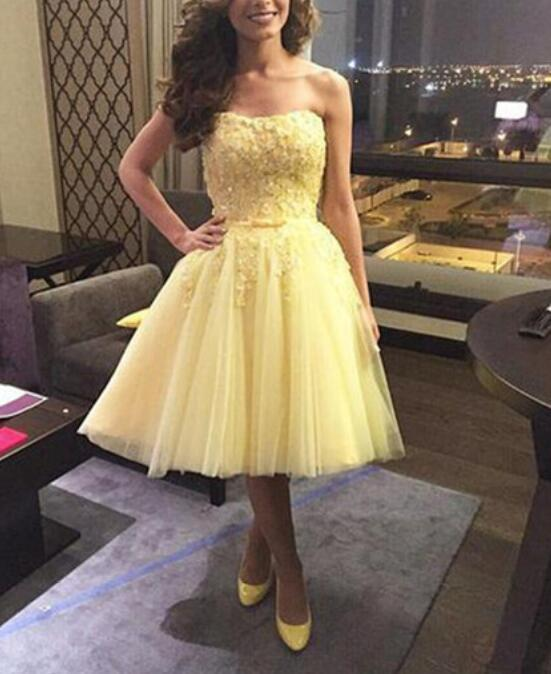 Yellow Short Party Dress 2018, Cute Tulle Formal Dress for Sale