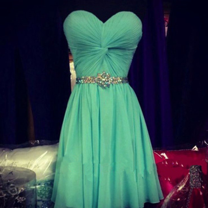 Green Beaded Chiffon Prom Dress, Green Homecoming Dress, Party Dress