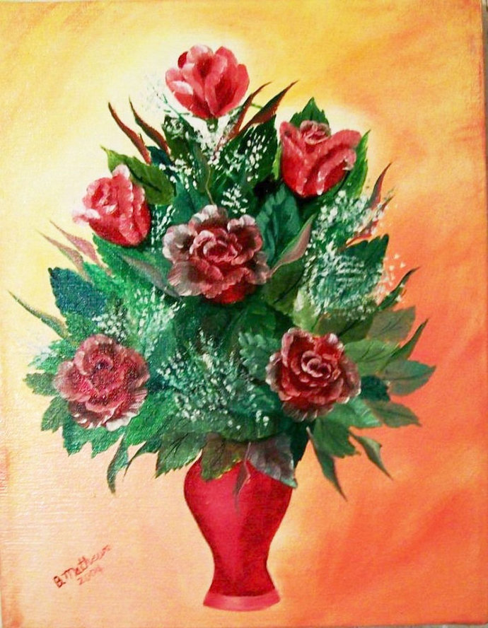 """Oil Painting, Original Painting, 11X14 Painting, Flower Painting, """"A Vase of"""