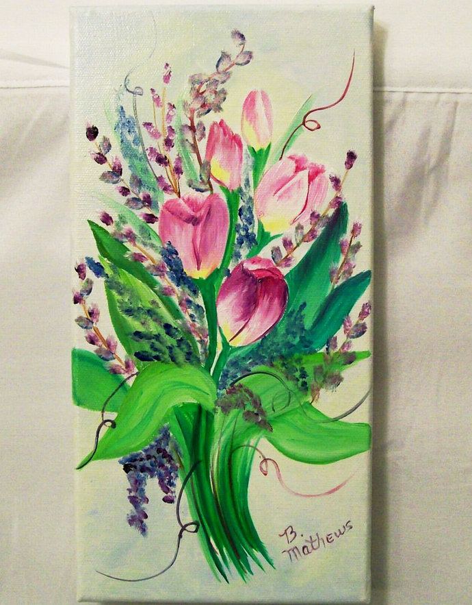 Oil Painting, Original Oil Painting, 6X12 Painting, White Tulips Painting,