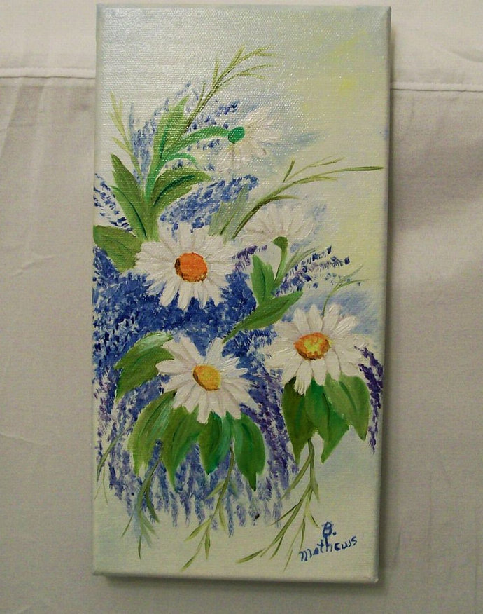 Oil Painting, Original Oil Painting, 6X12 Painting, White Daisies Painting,